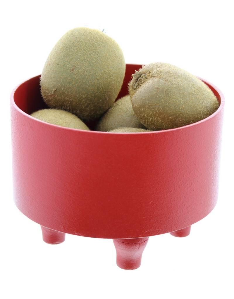 Bladi Design Panier à fruits bois laqué S - Rouge
