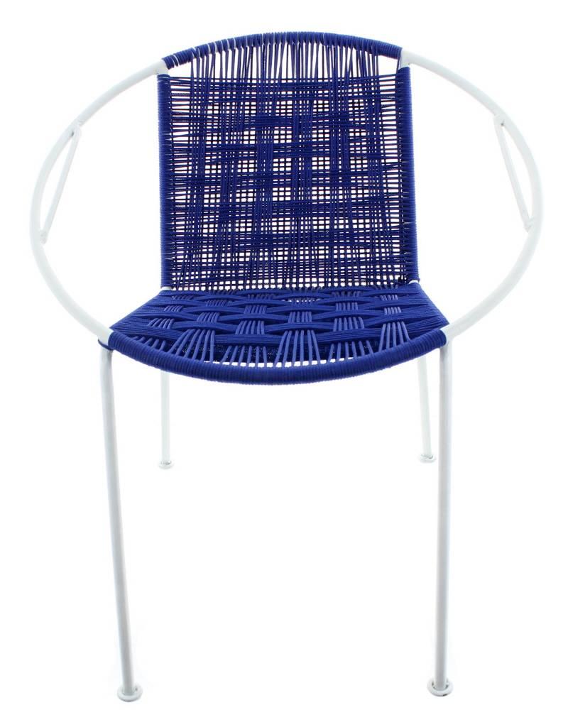 Bladi Design Fauteuil acier tissé main Junior - Bleu