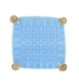 Les Maures Collection Tabouret tressé marocain - Bleu ciel