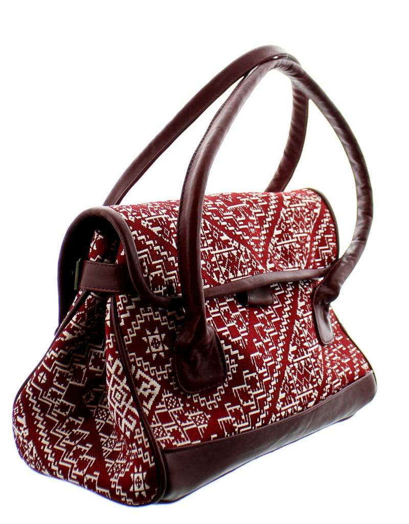 KifKif Handtas fez in geborduurd katoen - Rood