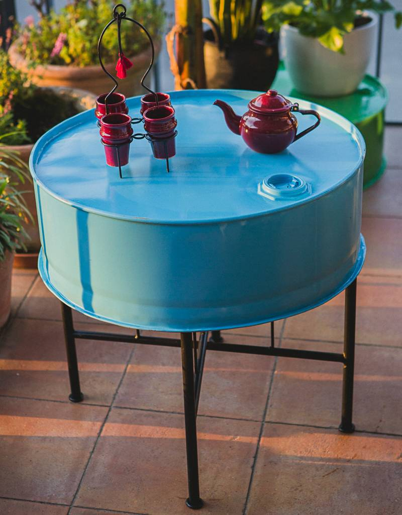 Bladi Design Table basse recyclée faite main - Bleu