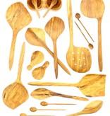 Chabi Chic Set van 4 koffielepels in olijfhout