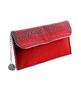 Maroc 'n Roll Geborduurde handtas met satijn - Rood