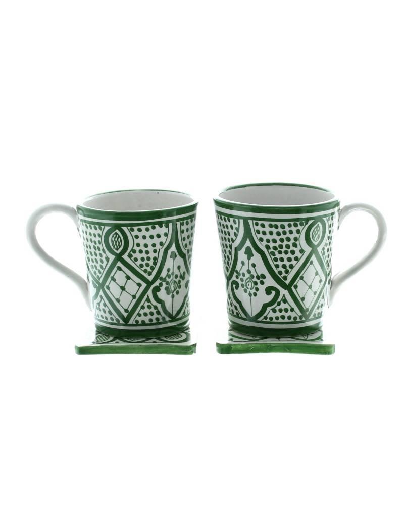 Chabi Chic Tasse Safi en céramique - Vert et blanc