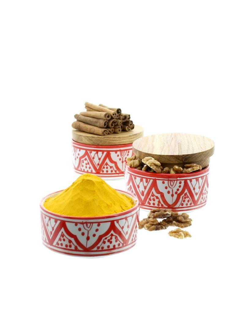 Chabi Chic Potje uit ceramiek met houten deksel