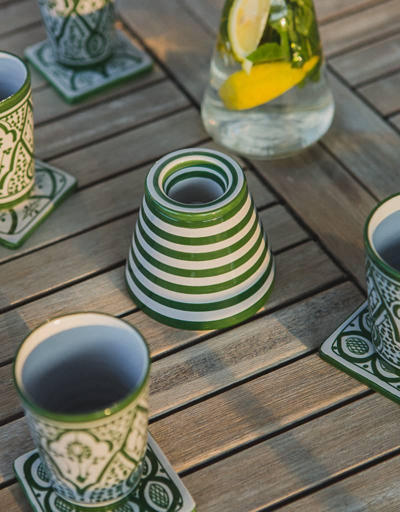 Chabi Chic Asbak uit ceramiek - Groen en wit zebra