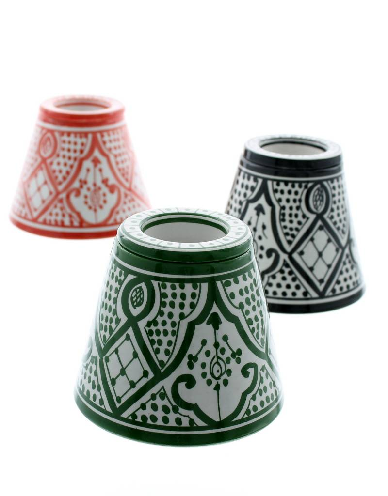 Chabi Chic Cendrier en céramique - Vert et blanc