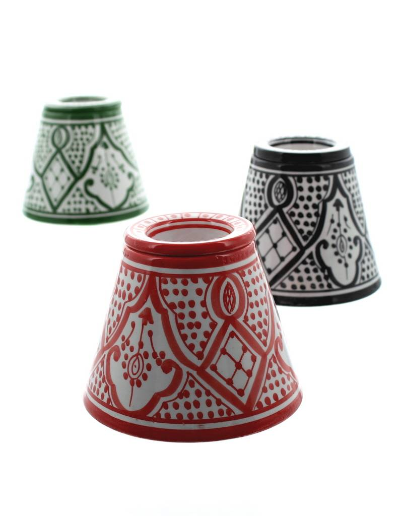 Chabi Chic Cendrier en céramique - Rouge et blanc