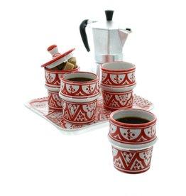 Chabi Chic Koffieservies in ceramiek - Rood en wit