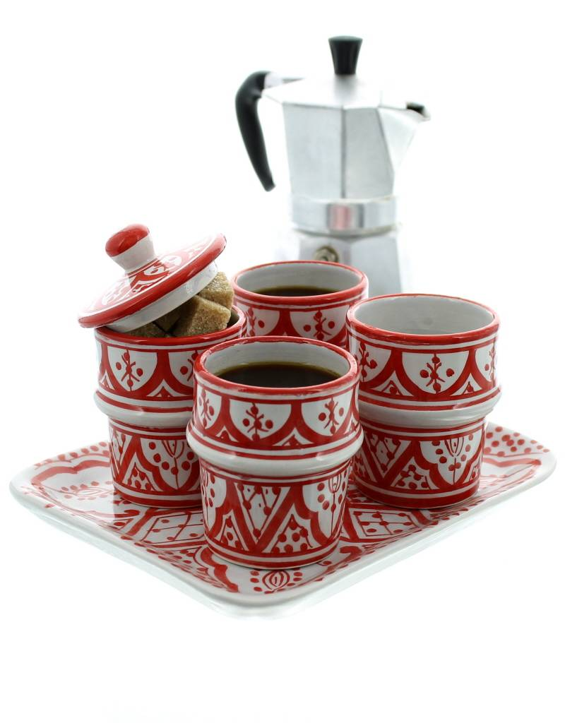 Chabi Chic Koffieservies in ceramiek - Rood en wit