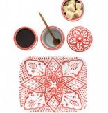 Chabi Chic Set à café en céramique - Rouge et blanc