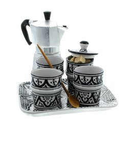 Chabi Chic Koffieservies in ceramiek - Zwart en wit