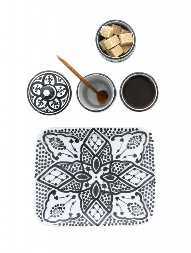 Chabi Chic Set à café en céramique- Noir et blanc