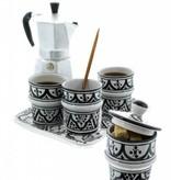 Chabi Chic Koffieservies in ceramiek - Zwart en wit