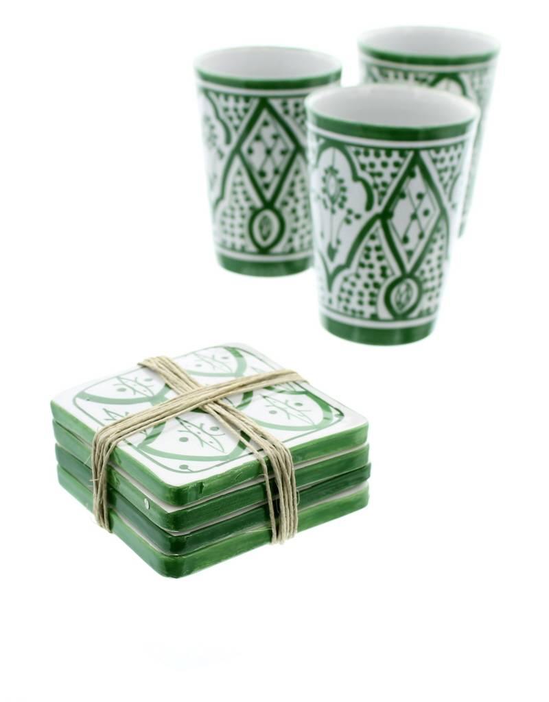 Chabi Chic Set onderleggers in ceramiek - Groen en wit