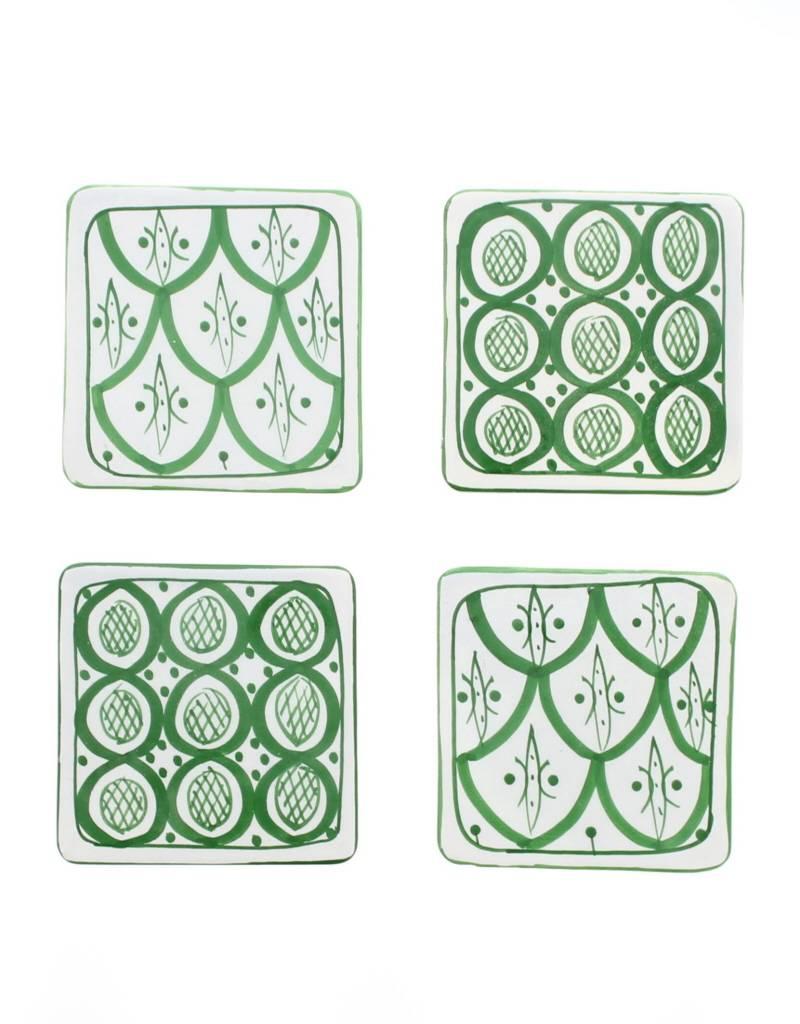 Chabi Chic Set sous verres en céramique - Vert et blanc