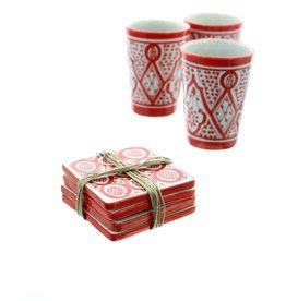 Chabi Chic Set sous verres en céramique - Rouge et blanc
