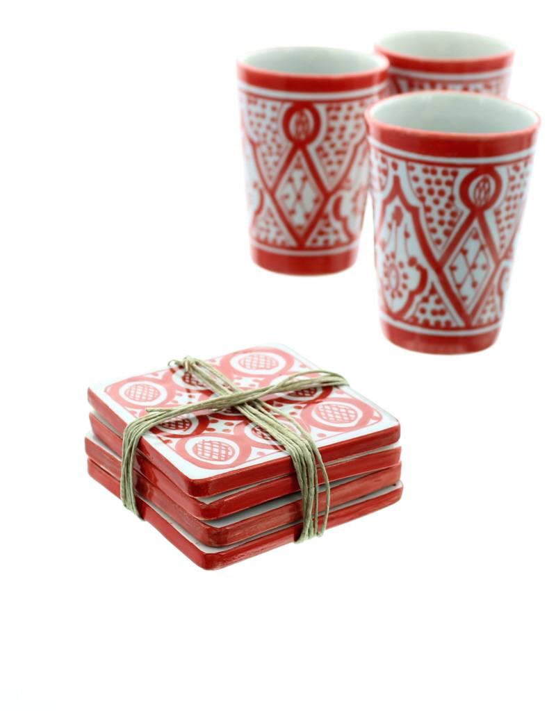 Set onderleggers in ceramiek rood en wit rue du maroc - Keuken in rood en wit ...