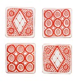 Chabi Chic Set onderleggers in ceramiek - Rood en wit