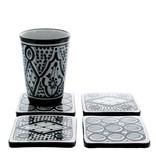 Chabi Chic Set onderleggers in ceramiek - Zwart en wit