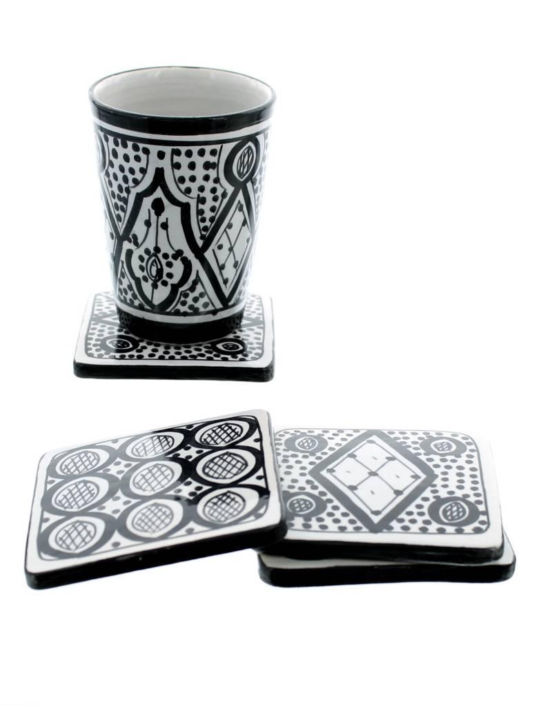 Chabi Chic Set sous verres en céramique - Noir et blanc