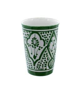 Chabi Chic Beker in ceramiek - Groen en wit