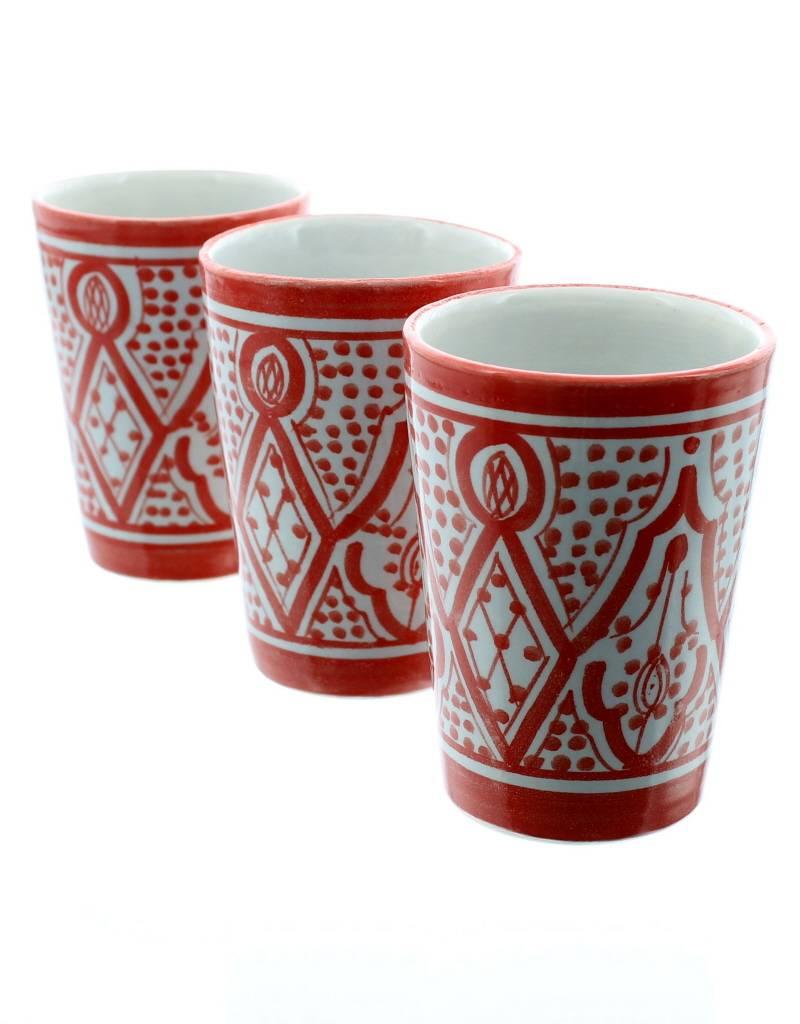 Chabi Chic Beker in ceramiek - Rood en wit