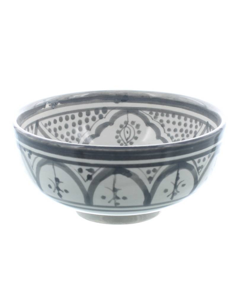 Chabi Chic Schaal uit ceramiek - Grijs en wit Safi