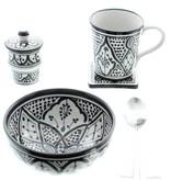 Chabi Chic Schaal uit ceramiek - Zwart en wit Safi