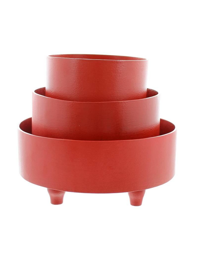 Bladi Design Panier à fruits bois laqué L - Rouge
