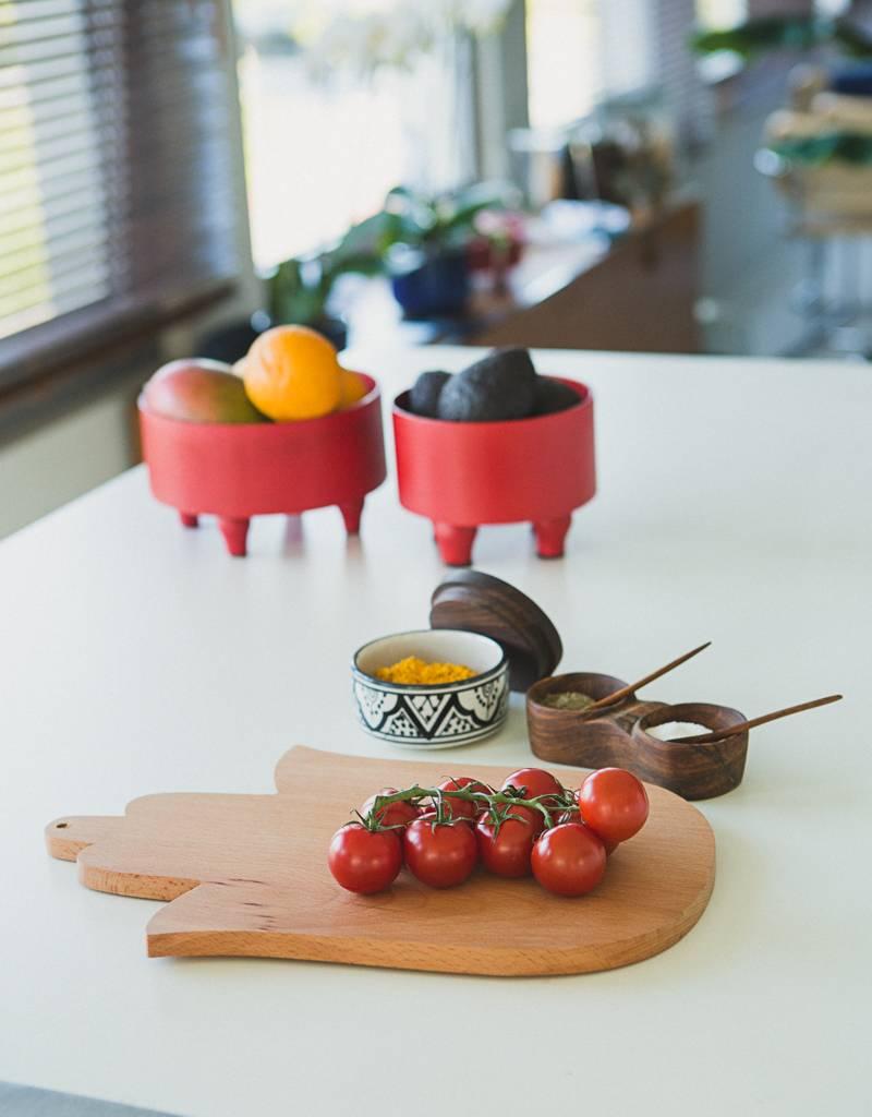 Bladi Design Set presenteerschalen uit gelakt hout - Rood