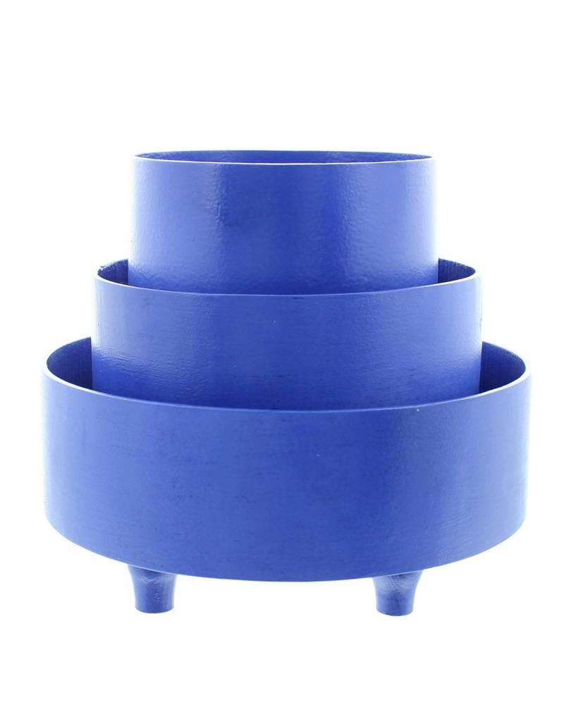 Bladi Design Panier à fruits bois laqué M - Bleu
