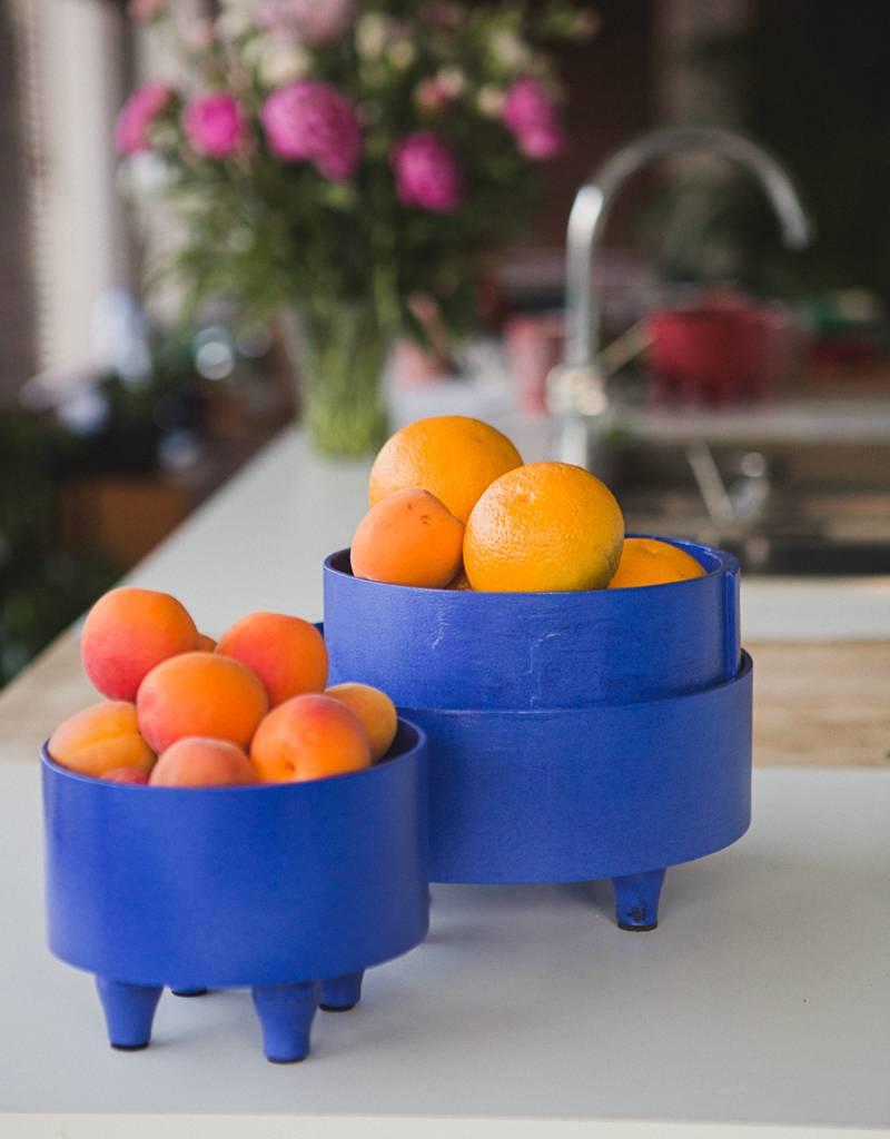 Bladi Design Panier à fruits bois laqué L - Bleu