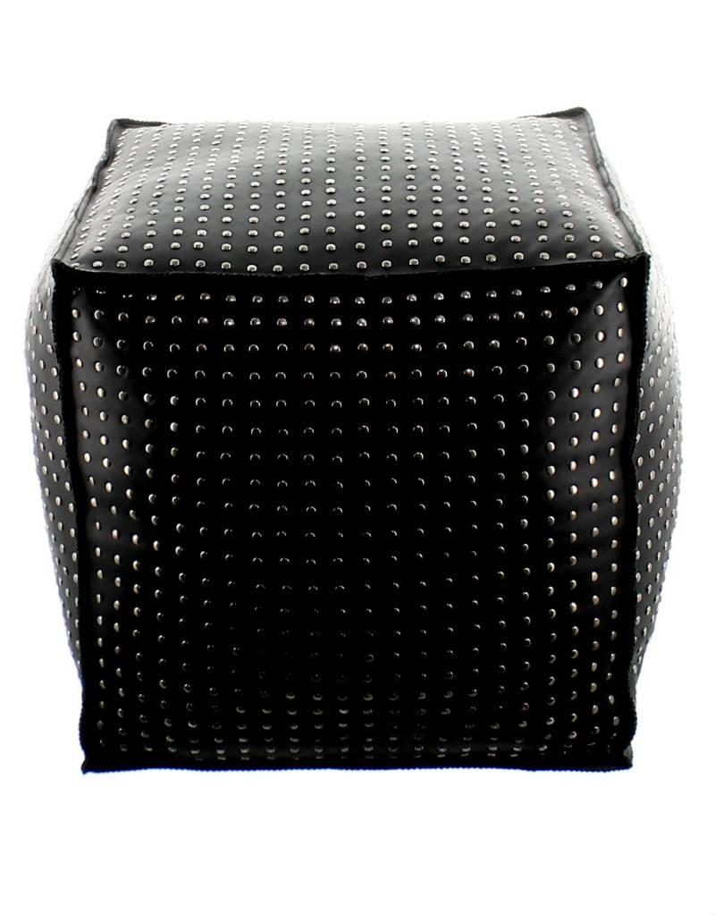 Maroc 'n Roll Pouf clouté en cuir de vachette - Noir