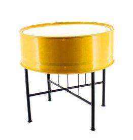 Bladi Design Handgemaakte bijzettafel uit olievat - Geel