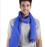 Léo Atlante Écharpe en laine brodée main - Bleu royal