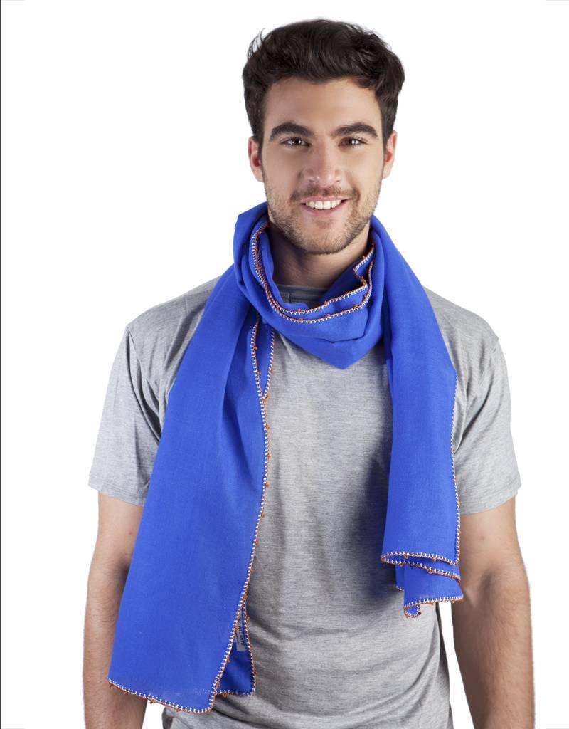 Léo Atlante Sjaal uit wol en zijdedraad - Koningsblauw