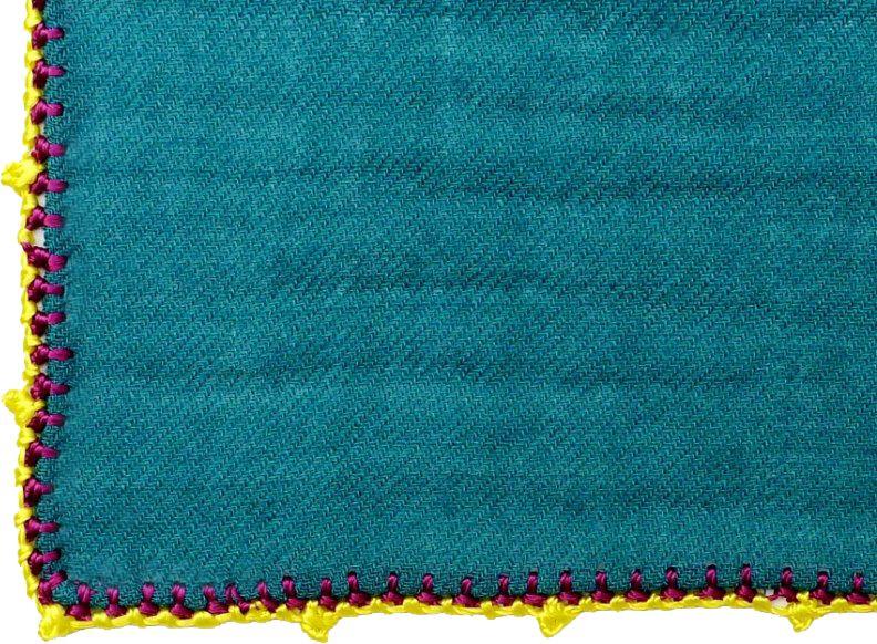 Léo Atlante Écharpe en laine brodée main - Bleu canard