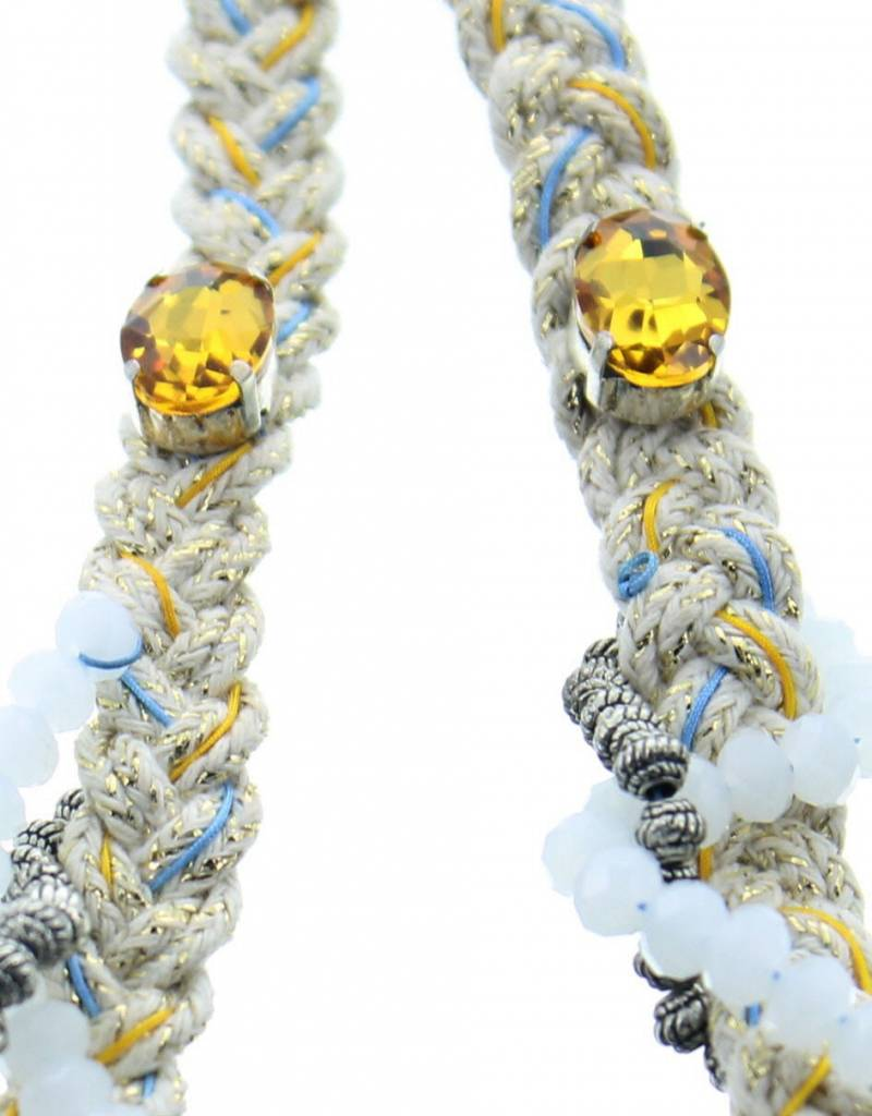 J&H Casablanca Collier en coton Mellina - Blanc en jaune