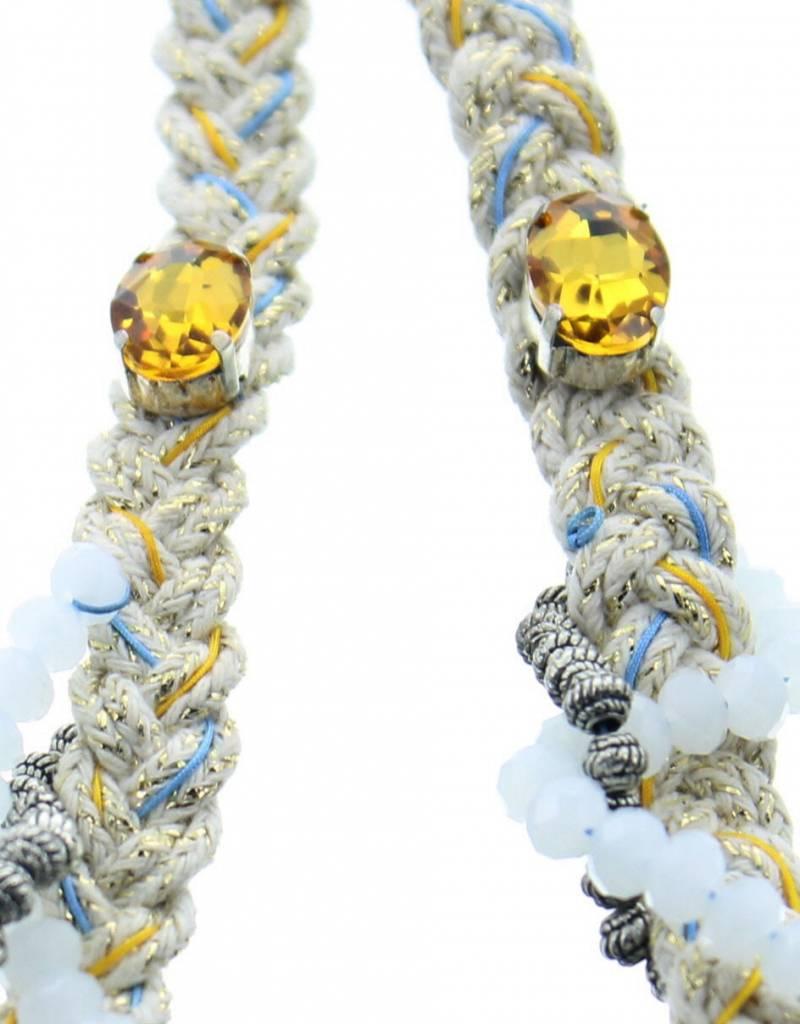 J&H Casablanca Halsketting in katoen Mellina - Wit en geel