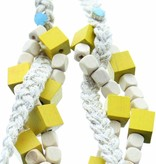 J&H Casablanca Halsketting in katoen Kenza - Wit en geel