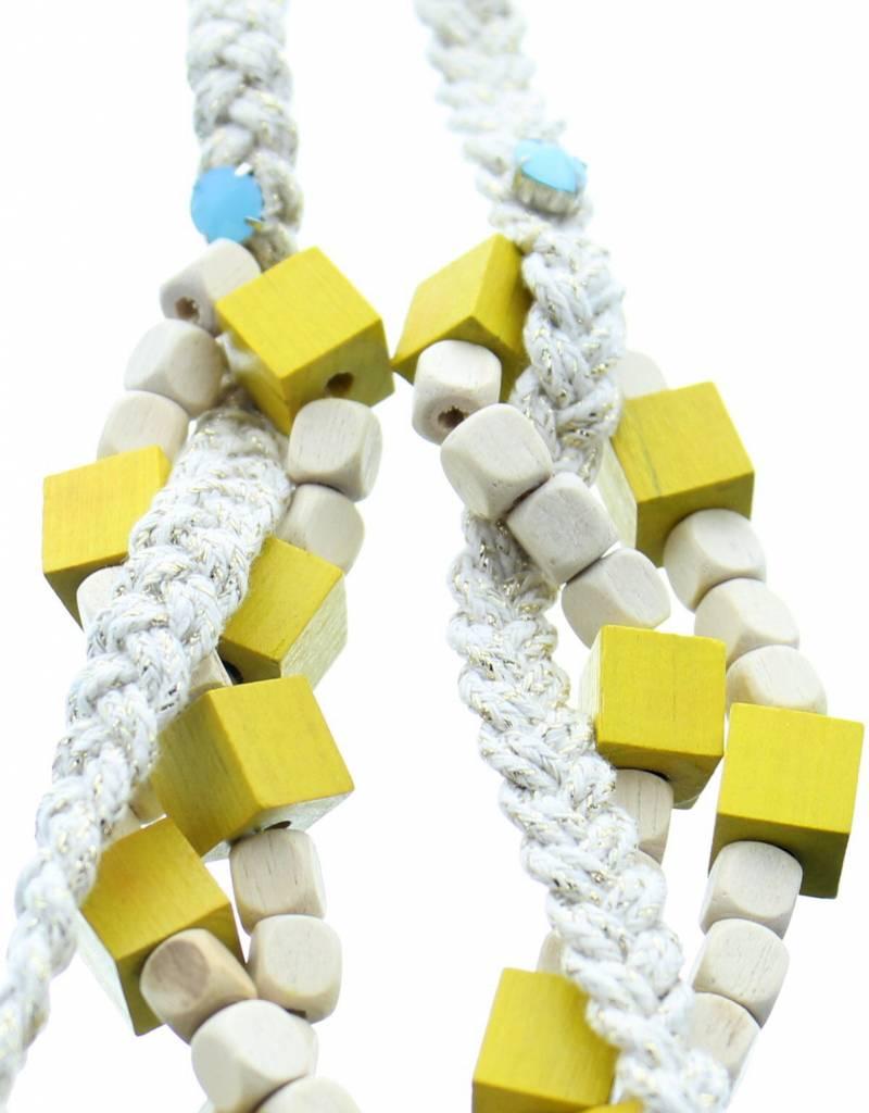 J&H Casablanca Collier en coton Kenza - Blanc et jaune