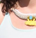 J&H Casablanca Halsketting in zilver Fairouz - Wit en geel