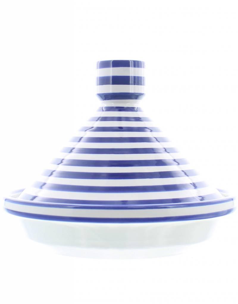 Chabi Chic Tajine uit ceramiek - Blauw en wit zebra