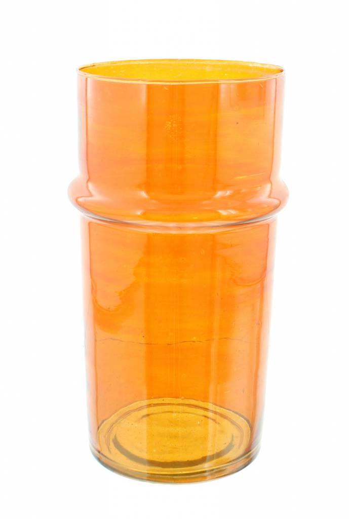 Verre Beldi Vase soufflé à la bouche - Orange 28cm L