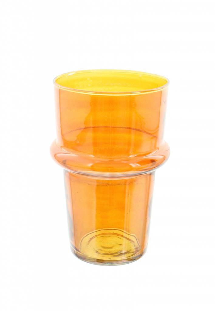 Verre Beldi mouthblown vase large 20cm orange