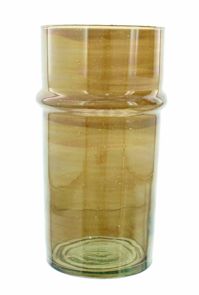 Verre Beldi Vase soufflé à la bouche - Fumé 28cm L