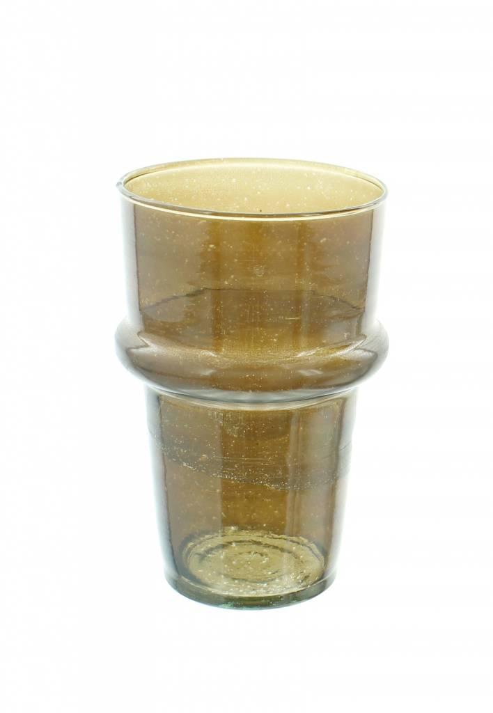 Verre Beldi Handgeblazen vaas - Gerookt glas 20cm M