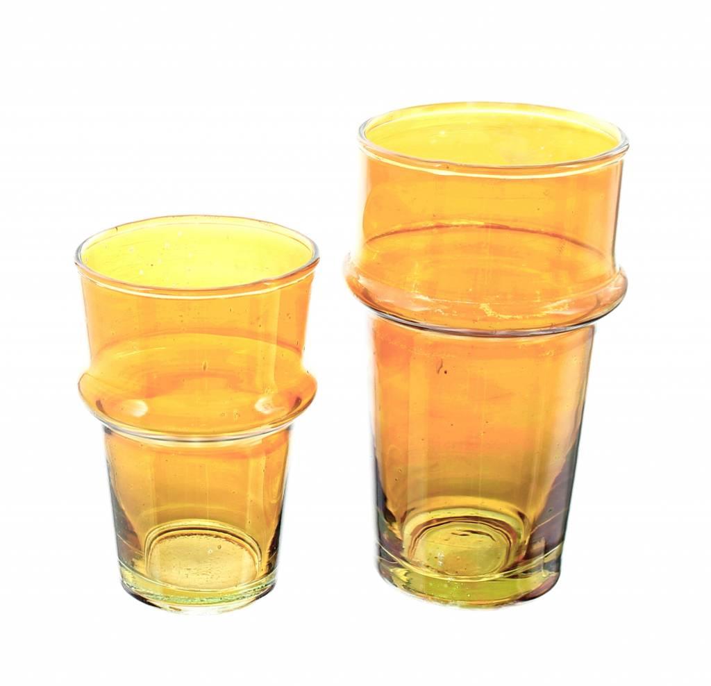 Verre Beldi Vase soufflé à la bouche - Orange 20cm M