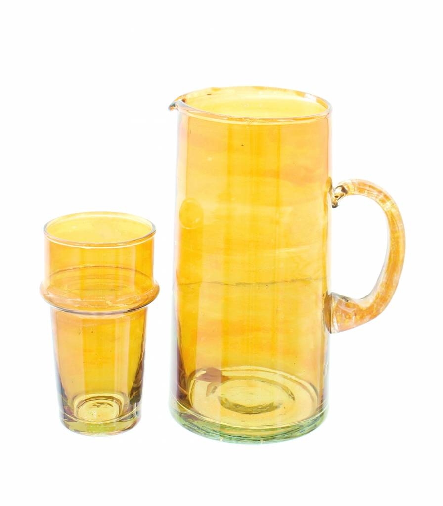 Verre Beldi pitcher mouthblown glass 1L orange